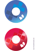 Blue Red Documents Backups CD-DVD Labels