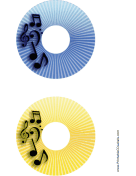 Blue Yellow Stripes Music CD-DVD Labels