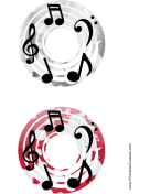 Gray Red Notes Music CD-DVD Labels