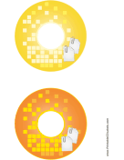 Yellow Orange Paperclip Backups CD-DVD Labels
