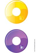 Yellow Purple Folder Backups CD-DVD Labels