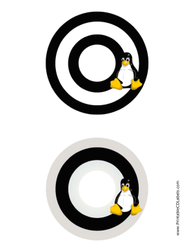 Printable Black And White Linux CD-DVD Labels