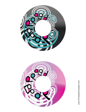 Printable Black Pink Swirling Notes Music CD-DVD Labels