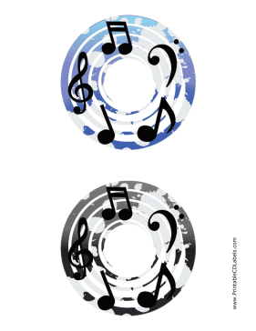 Printable Blue Black Notes Music CD-DVD Labels