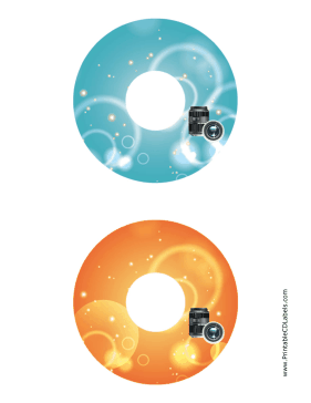 Printable Blue Orange Lenses Photography CD-DVD Labels