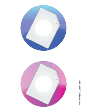 Printable Blue Pink Large Document Backups CD-DVD Labels