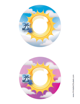 Printable Blue Pink Sunburst Photography CD-DVD Labels