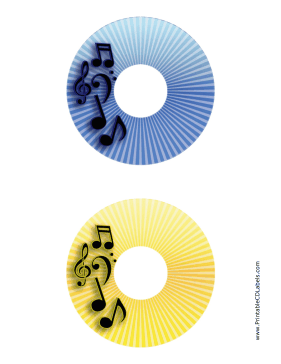Printable Blue Yellow Stripes Music CD-DVD Labels