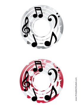 Printable Gray Red Notes Music CD-DVD Labels