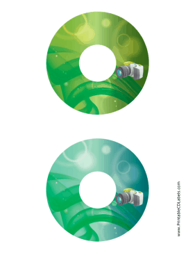 Printable Green SLR Photography CD-DVD Labels