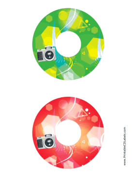Printable Green Red Camera Photography CD-DVD Labels