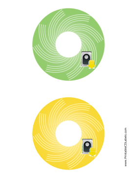 Printable Green Yellow Harddrive Backups CD-DVD Labels