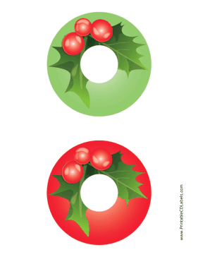 Printable Holly Christmas CD-DVD Labels