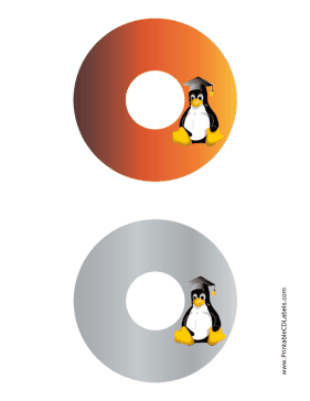 Printable Mortarboard Linux CD-DVD Labels