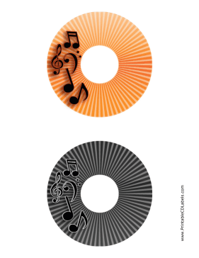 Printable Orange Black Stripes Music CD-DVD Labels