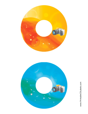 Printable Orange Blue SLR Photography CD-DVD Labels