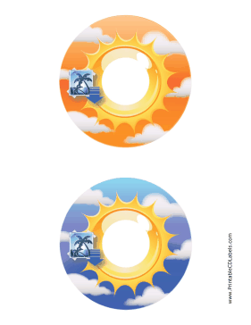 Printable Orange Blue Sunburst Photography CD-DVD Labels