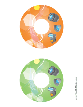 Printable Orange Green Accessories Photography CD-DVD Labels