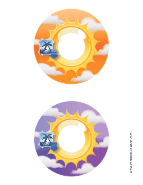 Printable Orange Purple Sunburst Photography CD-DVD Labels