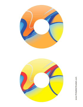 Printable Orange Yellow Abstract Software CD-DVD Labels