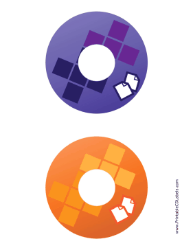 Printable Purple Orange Documents Backups CD-DVD Labels