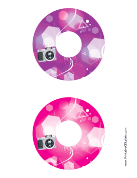 Printable Purple Pink Camera Photography CD-DVD Labels