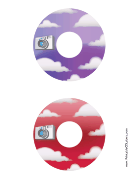 Printable Purple Red Clouds Photography CD-DVD Labels