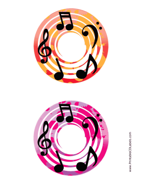 Printable Red Pink Notes Music CD-DVD Labels