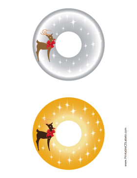 Printable Reindeer Christmas CD-DVD Labels