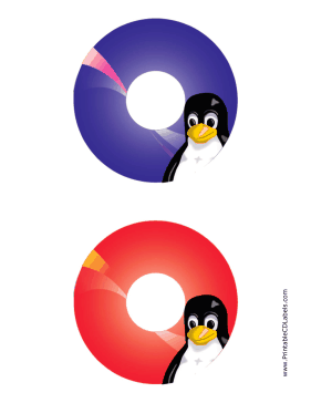 Printable Tux Linux CD-DVD Labels