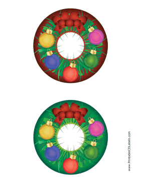 Printable Wreath Christmas CD-DVD Labels