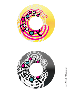 Printable Yellow Black Swirling Notes Music CD-DVD Labels