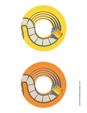 Printable Yellow Orange Film Photography CD-DVD Labels