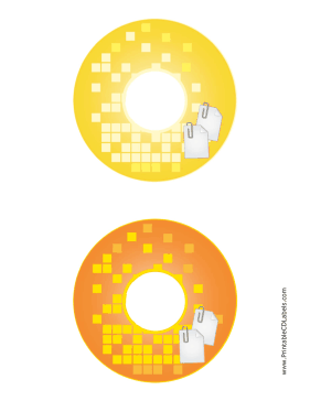 Printable Yellow Orange Paperclip Backups CD-DVD Labels
