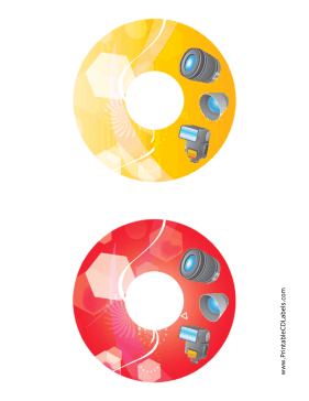 Printable Yellow Red Accessories Photography CD-DVD Labels