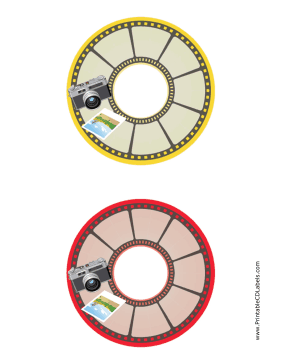Printable Yellow Red Photo Photography CD-DVD Labels